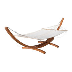 GDFStudio - Weston Outdoor Hammock With Wooden Base, Cream - Hammocks and Swing Chairs