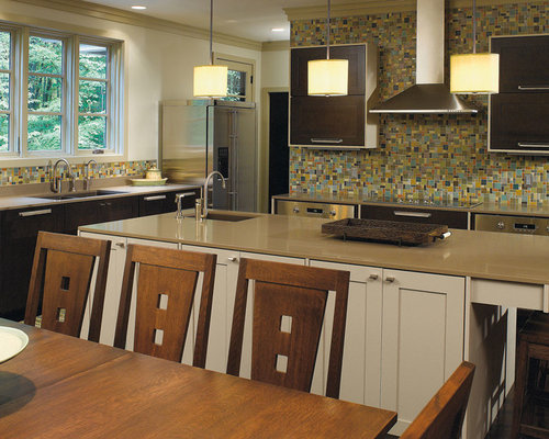 DARK WOOD CABINETS WITH A BLUE KITCHEN ISLAND - Kitchen Cabinetry