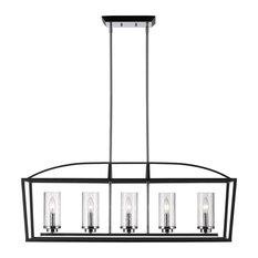Black Mercer 5-Light Linear Pendant With Seedy Glass Shades