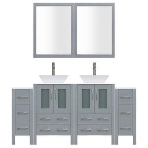 "72"" Modern Bathroom Vanity Set, Mirror and Sink LV2-C16-72-G, Gray"