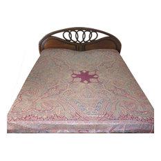 Mogul Interior - Pashmina Blanket Throw Jamawar Cashmere Bedspreads Bedding King - Throws