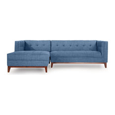 Kardiel   Harrison Midcentury Twil Sofa Chaise Sectional, Blue Curacao,  Left Facing   Sectional