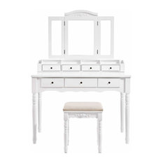 Vanity Set, makeup dressing table set with  Mirror, 7 Drawers, White URDT06M