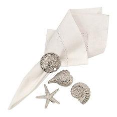 Silver Shells Starfish Sand Dollar Kitchen Dining Dinner Napkin Rings Set of 4