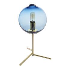 Golden Metal Hand Blown Glass Table Lamp, Blue