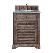 "Savannah 26"" Driftwood Single Vanity, Carrara White Top"