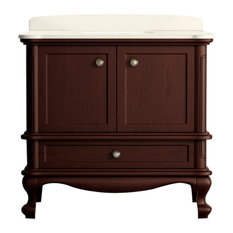 "Madera Floor Mount 36"" 3-Hole Vanity, Teak, Quartz White"