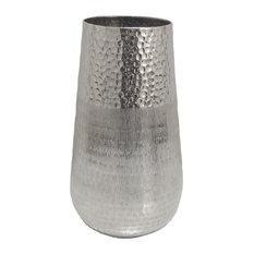Sagebrook Home Silver Hammered Metal Vase