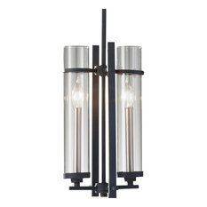 Ethan 2-Light Pendant, Clear Glass, Antique Forged Iron/Brushed Steel