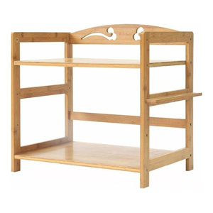 Contemporary Freestanding Storage Shelf, Natural Bamboo Wood With 2-Tier, 42 cm
