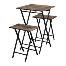 3 Piece Foldable Wood And Metal Dining Set With X Frame LegBrown And Black
