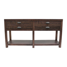 Emerson Solid Wood 2-Drawer Sideboard Console Table Rustic Walnut