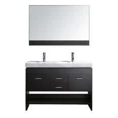 "Gloria 48"" Double Bathroom Vanity, Espresso, Polished Chrome"
