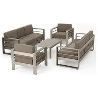 GDF Studio 5-Piece Crested Bay Outdoor Aluminum Sofa Set With Khaki Cushions