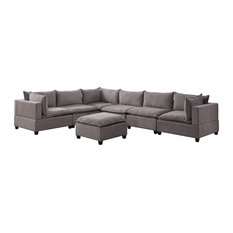 Bowery Hill Fabric 7 Piece Modular Sectional With Ottoman In Light Gray