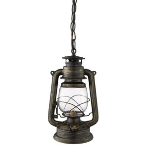 Traditional Miners Lantern Pendant With Frosted Hurricane Glass