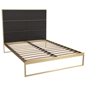 Federico Double Bed, Black Stained Oak, Brass Base
