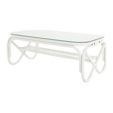 Rectangular Rattan Coffee Table With Glass Top White