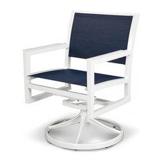 Trex Outdoor Furniture   Outdoor Parsons Cube Swivel Rocker, Chair Seat:  Sapphire, Base