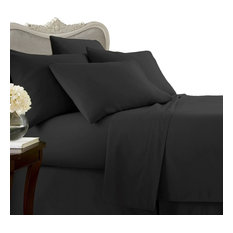 1500 Thread Count Egyptian Cotton Solid Bed Sheet Set, California King, Black