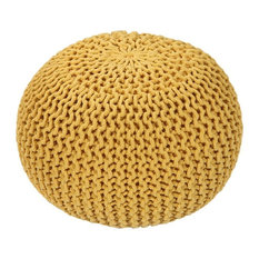 """GFURN - Handmade Round Knitted Pouf, Vibrant Yellow, 20""""x14"""" - Floor Pillows and Poufs"""