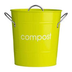 Premier Housewares Metal Compost Bin With Plastic Liner, Lime Green
