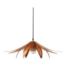 Lotus Pendant Light, Walnut Veneer, Small