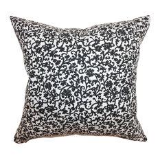 Vappi Floral Floor Pillow Black White