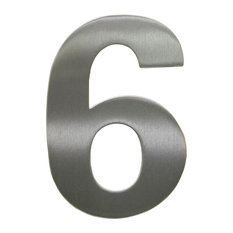 Bold Elevated House Numbers - Brushed Steel - 6