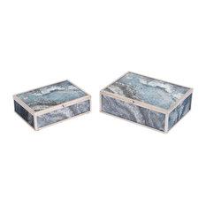 Mundi Boxes, Silver Geode, Set of 2