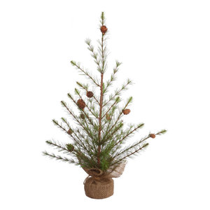 """Missoula Pine Tree With Cones and Burlap Base, 24"""""""