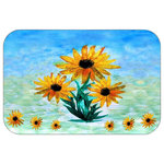"Mary Gifts By The Beach - Sun Flower Time Plush Bath Mat, 20""x15 - Bath mats from my original art and designs. Super soft plush fabric with a non skid backing. Eco friendly water base dyes that will not fade or alter the texture of the fabric. Washable 100 % polyester and mold resistant. Great for the bath room or anywhere in the home. At 1/2 inch thick our mats are softer and more plush than the typical comfort mats.Your toes will love you."