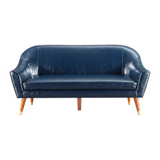 Divano Roma Furniture - Mid Century Modern Bonded Leather Living Room Sofa,  Dark Blue -