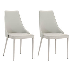 Ivy Dining Chair, Set of 2, Light Gray Synthetic Leather, Brushed Stainless St
