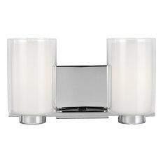 Bergin 2-Light Vanity, Chrome, Clear