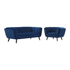 Navy Bestow 2 Piece Performance Velvet Sofa And Armchair Set