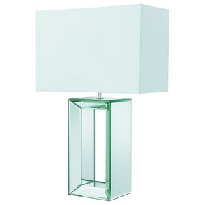 Modern Table Lamp, Mirrored and White Faux Silk Shade