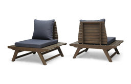 Kailee Outdoor Wooden Club Chairs With Cushions, Set of 2, Dark Gray, Gray Finis