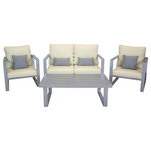 Outdoor 4-Piece Bolonia Furniture Set With 2-Seater Sofa, Silver