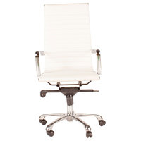 Omega High Back Office Chair, White, 45""