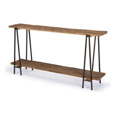 bartlett rustic lodge wood metal rectangle console table console tables - Thin Console Table