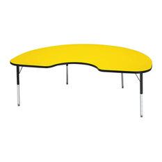 "Ridgeline Kydz Activity Table, Kidney, 48""x72"", 15"", 24"", Yellow"