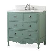 """34"""" Distress Vantage Blue Daleville Bathroom Sink Vanity"""