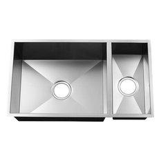 Intown Handmade Rendition 18 Gauge Stainless 80/20 Double Bowl Sink, Zero Edge