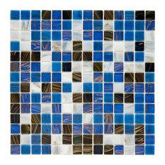 "12""x12"" Cuivre Translucent Glass Mosaic Tiles, Set of 10, Marina"