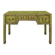 Chinese Distressed Lime Green Yellow 4-Drawer Table Desk