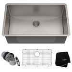 """Kraus USA - Kraus 30"""" Undermount Kitchen Sink, Stainless Steel, Accessories - Enjoy the advantage of high-end kitchen sinks without the high price tag with the best-selling Standart PRO Series by KRAUS. This Kraus sink features industrial-grade corrosion-resistant T304 stainless steel and extra-thick TRU16 real 16-gauge construction for rugged durability. Award-winning NoiseDefend technology insulates the basin with superior soundproofing. Commercial-grade satin finish offers lasting protection, with a beautiful sheen that complements any kitchen decor. A rear-set drain ensures optimal drainage even with dishes in the basin, while engineered channel grooves help direct water to the drain, for a clean and quick-drying sink."""