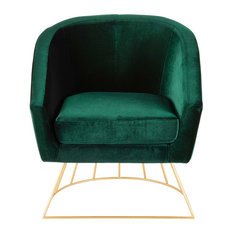 LumiSource - Canary Contemporary-Glam Tub Chair, Gold Metal and Emerald Green Velvet - Armchairs and Accent Chairs