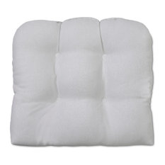 Outdoor Patio Tufted Seat Cushion, White