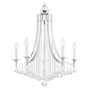 "Quoizel QSP5005 Queenship 5 Light 25"" Wide Taper Candle Chandelier with Glass B"